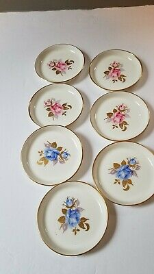"""Aynsley Famille Rose Coaster Ribbed 4 1/4"""" Pink Blue  Floral Bone China 7 Total"""