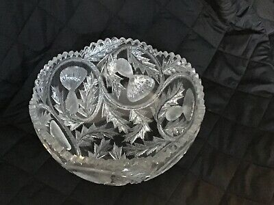 Antique American Brilliant Period Cut Crystal Bowl Pine Branches ABCG Glass