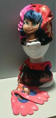 Lady Bugs / Miracolous,Cappello E Fascia-Collo In Pile Decorato + Guanti In Lana