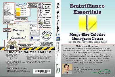 Embroidery Software SewArt, Embrilliance Embroidery Win & Mac Essentials Edition