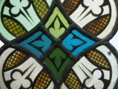 SUPERB 19thc ARCHITECTURAL STAINED GLASS WINDOW WITH SHAMROCKS C.1860