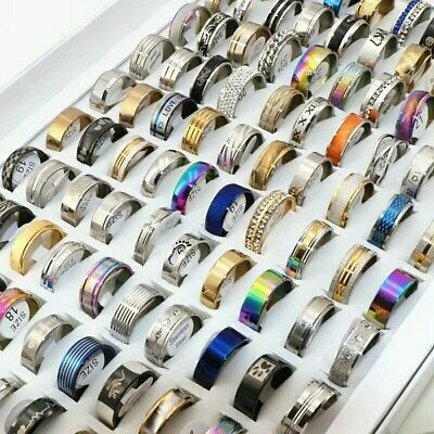 Wholesale 100pcs/Lots Mens Womens Stainless steel Rings Fashion Jewelry Party...
