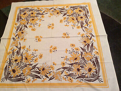 """Vintage Tablecloth 52"""" x 48"""" With Daisy Brown Yellow"""
