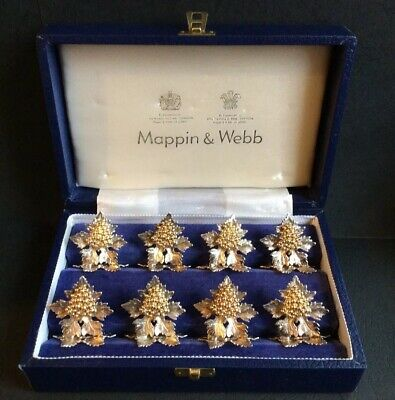 Mappin & Webb:  Set of Eight Sterling Silver & Silver-Gilt Place Card Holders
