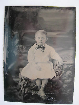 Vintage Tintype Photo Victorian View of Young Child with Bow Tie