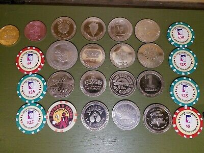 Vintage Casino Chips And Tokens Lot Of 25 Las Vegas Elko Colorado Belle + More