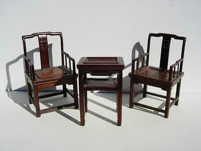 Nice Old Chinese Carved Doll House Miniature Wood Table & Chair Set