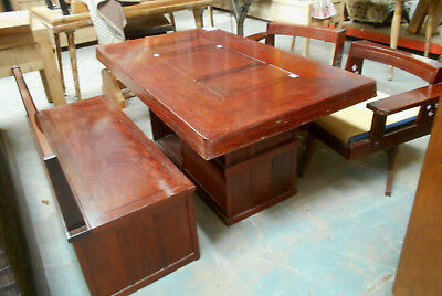 Vintage Rosewood Custom Made DINING SETTING HIBACHI Bench Seat 1960s Japanese #1