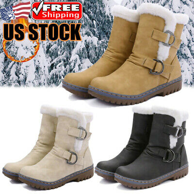 Women Waterproof Snow Boots Leather Buckle Fur Lined Winter Warm Ski Ankle Shoes