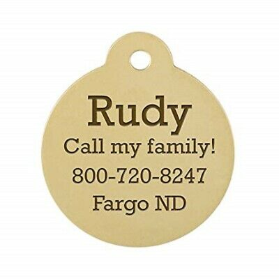 Customized Dog Cat Tag Identification Metal Engraved Pet ID Gold Circle Gift