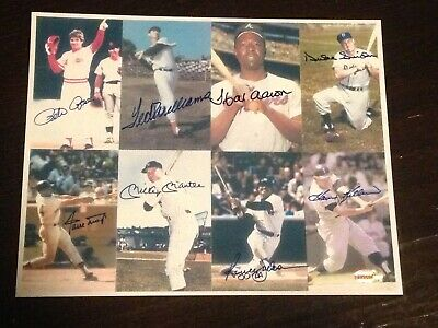 Mantle /Aaron /Mays/Rose/Williams/Jackson/Killebrew/Snider Signed 8x10 Photo COA