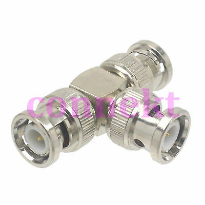 1x BNC male to 2 two BNC male plug triple T RF coaxial adapter connector 3 way