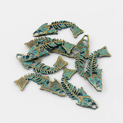 10Pcs Ancient Greek Bronze Fish Bone Skeleton Charms Pendants Jewelry Findings