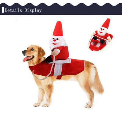 Christmas Santa Claus Pet Dog Fancy Dress Coat Costume Outfit Clothes Cosplay UK