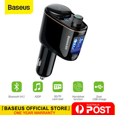 Baseus Handsfree Wireless Bluetooth Car FM Transmitter MP3 Player USB Charger