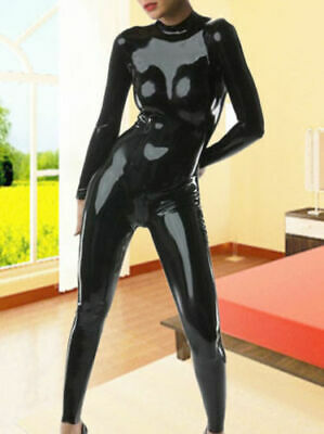 Femmes Catsuit Latex Caoutchouc Sexy Tenue Noir Overall Cosplay Suit S-XXL 0.4mm