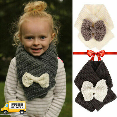 Kid Wool Knit Scarf Neck Warmer Sweet Knitted Bow Scarf Good Quality Hot Style