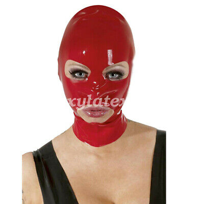 100% Latex Rubber Red Simple Mask Masque Cosplay Sexy head hood 0.4mm S-XXL