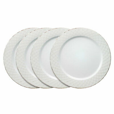 Pfaltzgraff French Lace Set of 4 White Dinner Plates