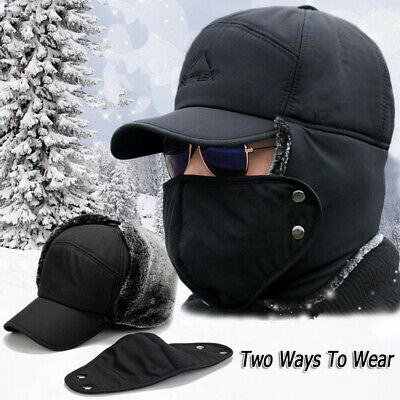 Men Women Winter Russian Hat Trooper Snow Ski Ushanka Waterproof Warm Hat Mask