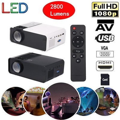 Portable Mini HD 1080p Projector LED Home Theater USB AV VGA TF Multimedia Q1L1