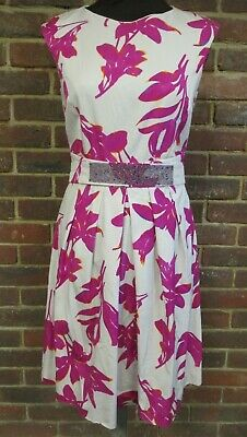 Marella Ladies White and Pink Floral Dress Size UK 10