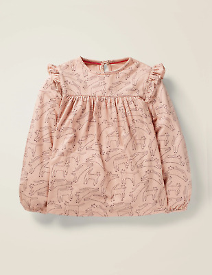NEW RRP £18 Mini Boden   Floaty Ruffle Top - Provence Dusty Pink Cats      (U25)