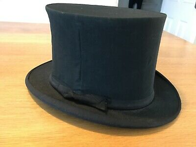 Vintage GA Dunn And Co Folding Collapsible Victorian Opera Black Top Hat