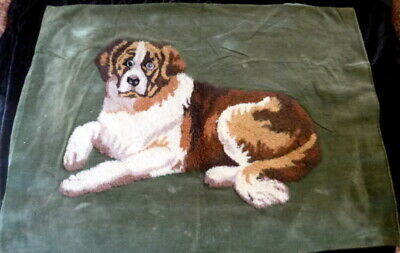 Vintage 1930s SAINT BERNARD Embroidered Picture/Pillow Cover
