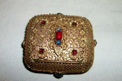 ANTIQUE JEWELED ORMOLU FILIGREE CZECH BRONZE RING TRINKET BOX RARE LATE 1800's