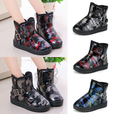 Kid Boys Girls Camo Ankle Snow Boots Waterproof Fur Lined Winter Warm Shoes Size