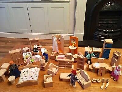Wooden Dolls House Furniture Family 6 Figures People Dolls Mixed Job Lot