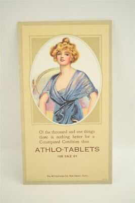 Pin up Woman Ink Blotter Advertising Vintage Original 1920s Athlo-Ointment 3a