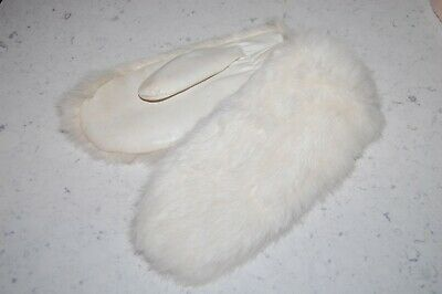 Vtg! 60s WHITE RABBIT FUR & FAUX LEATHER GLOVES SNOW BUNNY MITTENS LARGE