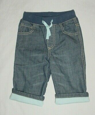 NWOT Baby Boden Boys Rib Waist Lined Denim Blue Jeans 6-12 Months