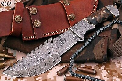 HAND FORGED DAMASCUS STEEL Hunting TRACKER KNIFE W/ RAM HANDLE-Q-902