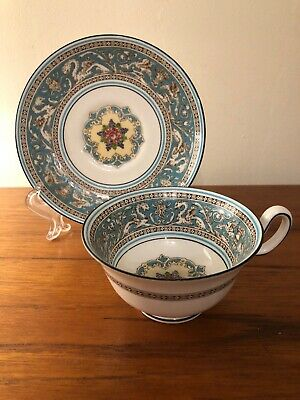 Vintage Wedgwood Bone China England Florentine Turquoise Rim Tea Cup and Saucer