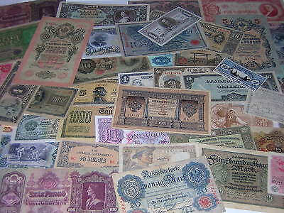 18 DIFFERENT 50 to OVER 100 YEARS OLD WORLD PAPER MONEY BANKNOTES LOT *NO=RESERV