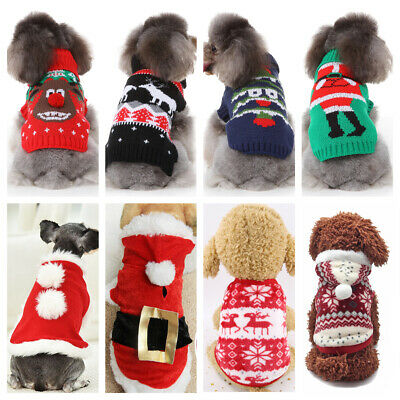 Christmas Pet Vest Dog Puppy Hoodie Sweater Xmas Warm Clothes Costume Shirt US