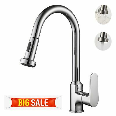 Kitchen Sink Faucet Single Handle/Hole Basin Hot Cold Mixer Tap Spout in Chrome