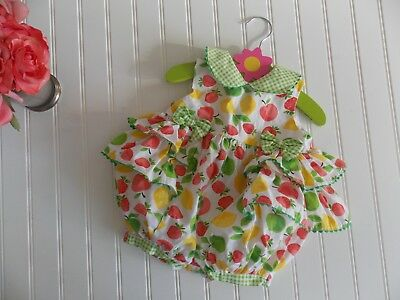 Vintage Baby Girls Fruit Gingham Ruffle Summer Bubble Romper Outfit 6-9 Month