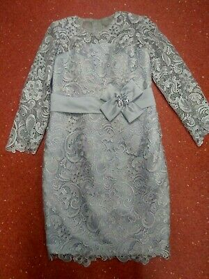 DRESS Mother of the Bride Formal Evening- light grey lace and satin elegance+