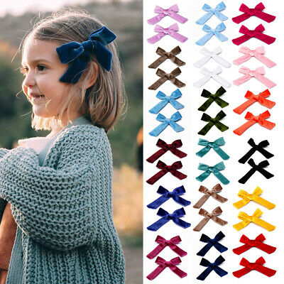 2Pcs Baby Kids Girls Hair Bow Clips Kids Solid Velvet Knot Hairpins Barrettes