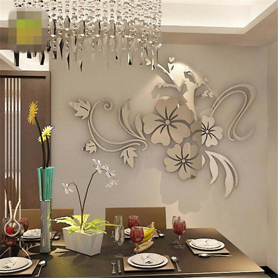 Mirror Tiles Flower Wall Stickers Removable Mural Bedroom Art Decals Home Decor