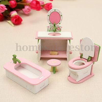 Retro Doll House Miniature Bathroom Wooden Furniture Set Kids Pretend Play