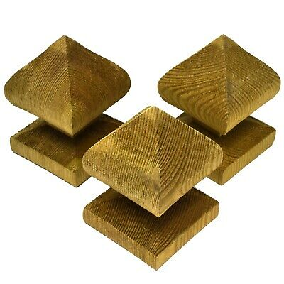 """3/"""" Brown Flat Wooden Post Caps For 75mm Square Fence Posts"""