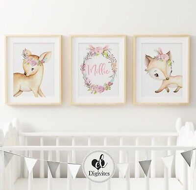 Baby Girl Woodland Nursery Prints, set of 3, Fox, bunny, Deer. Bedroom Decor