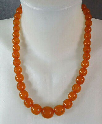 Art Deco Natural Baltic Honey Amber Graduated Beads Necklace Jewelry 56.28 Grams