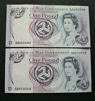 UK,  2 x Isle of Man One Pound Notes  High Grades {E130}