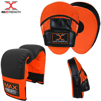 Boxing Bag Gloves and Focus Pads Set Hook & Jabs Punch Mitts Gym Training MMA